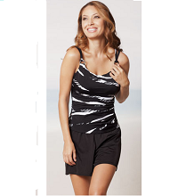 Miraclesuit Black and White Zebra Tankini Top